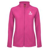 Ladies Fleece Full Zip Raspberry Jacket-Texas State Logo Stacked