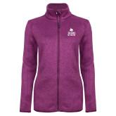 Dark Pink Heather Ladies Fleece Jacket-Texas State Logo Stacked