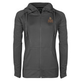 Ladies Sport Wick Stretch Full Zip Charcoal Jacket-Texas State Logo Stacked