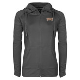 Ladies Sport Wick Stretch Full Zip Charcoal Jacket-TXST Texas State