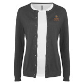 Ladies Charcoal Cardigan-Texas State Logo Stacked