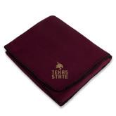 Maroon Arctic Fleece Blanket-Texas State Logo Stacked