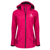 Ladies Dark Fuchsia Waterproof Jacket-Texas State Logo Stacked