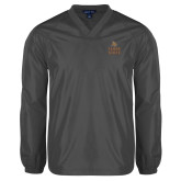 V Neck Charcoal Raglan Windshirt-Texas State Logo Stacked