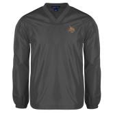 V Neck Charcoal Raglan Windshirt-Bobcat Logo