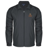 Full Zip Charcoal Wind Jacket-Texas State Logo Stacked