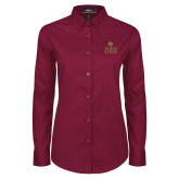 Ladies Maroon Twill Button Down Long Sleeve-Texas State Logo Stacked