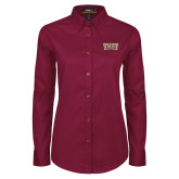 Ladies Maroon Twill Button Down Long Sleeve-TXST Texas State