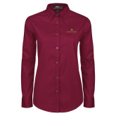 Ladies Maroon Twill Button Down Long Sleeve-Texas State Secondary