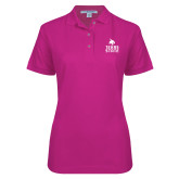 Ladies Easycare Tropical Pink Pique Polo-Texas State Logo Stacked
