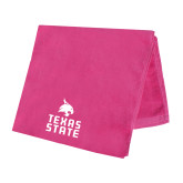 Pink Beach Towel-Texas State Logo Stacked