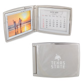 Silver Bifold Frame w/Calendar-Texas State Logo Stacked Engraved