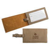 Ultra Suede Tan Luggage Tag-Texas State Logo Stacked Engraved