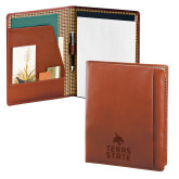 Cutter & Buck Chestnut Leather Writing Pad-Texas State Logo Stacked Engraved