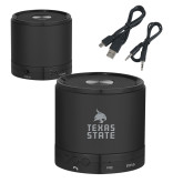 Wireless HD Bluetooth Black Round Speaker-Texas State Logo Stacked Engraved