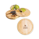 7.5 Inch Brie Circular Cutting Board Set-Texas State Logo Stacked Engraved