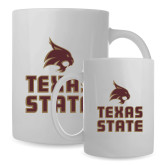 Full Color White Mug 15oz-Texas State Logo Stacked