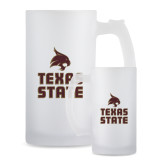 Full Color Decorative Frosted Glass Mug 16oz-Texas State Logo Stacked