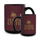 Full Color Black Mug 15oz-Texas State Logo Stacked