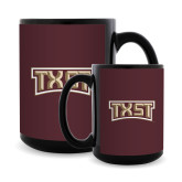 Full Color Black Mug 15oz-TXST Texas State