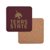 Hardboard Coaster w/Cork Backing-Texas State Logo Stacked