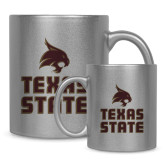 Full Color Silver Metallic Mug 11oz-Texas State Logo Stacked