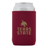 Neoprene Maroon Can Holder-Texas State Logo Stacked