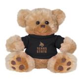 Plush Big Paw 8 1/2 inch Brown Bear w/Black Shirt-Texas State Logo Stacked
