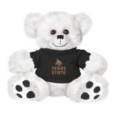 Plush Big Paw 8 1/2 inch White Bear w/Black Shirt-Texas State Logo Stacked