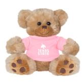 Plush Big Paw 8 1/2 inch Brown Bear w/Pink Shirt-Texas State Logo Stacked