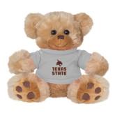 Plush Big Paw 8 1/2 inch Brown Bear w/Grey Shirt-Texas State Logo Stacked