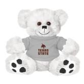 Plush Big Paw 8 1/2 inch White Bear w/Grey Shirt-Texas State Logo Stacked