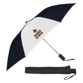42 Inch Slim Stick Black/White Vented Umbrella-Texas State Logo Stacked