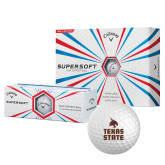 Callaway Supersoft Golf Balls 12/pkg-Texas State Logo Stacked