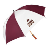 62 Inch Maroon/White Vented Umbrella-Texas State Logo Stacked