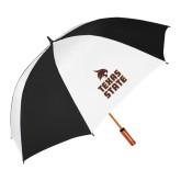 62 Inch Black/White Vented Umbrella-Texas State Logo Stacked