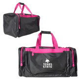 Black With Pink Gear Bag-Texas State Logo Stacked