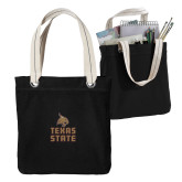 Allie Black Canvas Tote-Texas State Logo Stacked