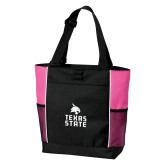 Black/Tropical Pink Panel Tote-Texas State Logo Stacked