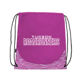 Nylon Zebra Pink/White Patterned Drawstring Backpack-Tucson Roadrunners