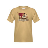 Youth Khaki Gold T Shirt-Badge Design