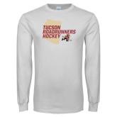 White Long Sleeve T Shirt-Tuscon Roadrunners Hockey w/ State