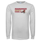 White Long Sleeve T Shirt-Roadrunners Hockey Stacked