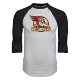 White/Black Raglan Baseball T-Shirt-Badge Design