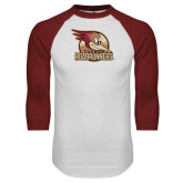 White/Cardinal Raglan Baseball T Shirt-Badge Design