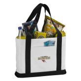 Contender White/Black Canvas Tote-Tucson Roadrunners Stacked