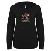 ENZA Ladies Black V Notch Raw Edge Fleece Hoodie-Official Logo