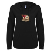 ENZA Ladies Black V Notch Raw Edge Fleece Hoodie-Badge Design