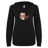 ENZA Ladies Black V Notch Raw Edge Fleece Hoodie-Tuscon Roadrunners Hockey w/ State