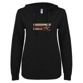ENZA Ladies Black V Notch Raw Edge Fleece Hoodie-Roadrunners Hockey Stacked
